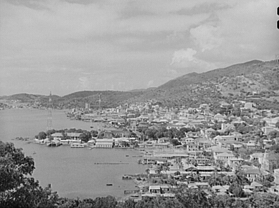 Charlotte Amalie, seen from Bluebeard's Castle Hotel. Saint Thomas, Virgin Islands by photographer Jack Delano Dec. 1941