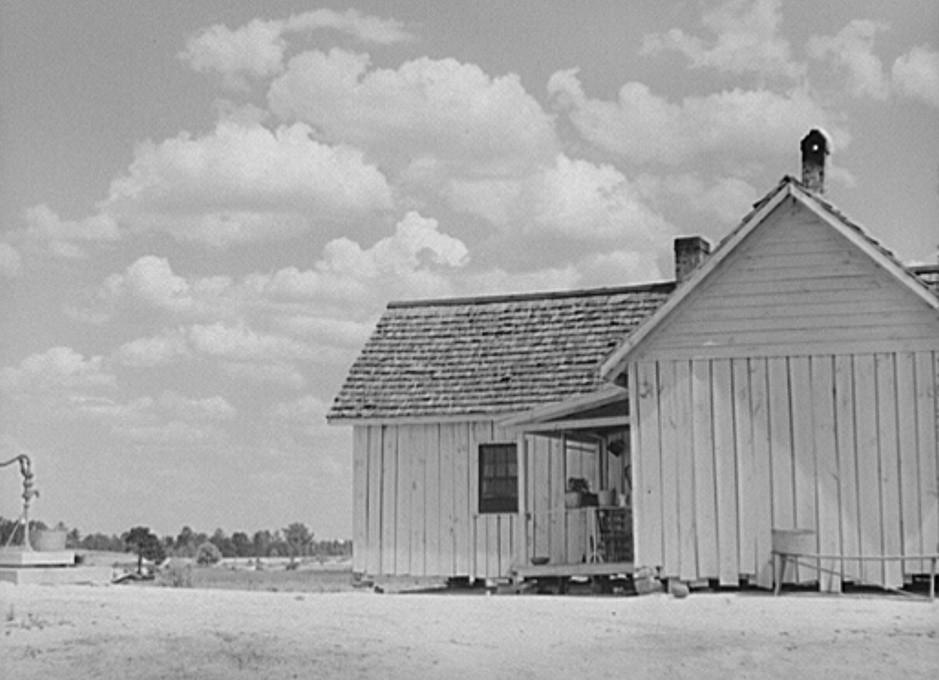 FSA (Farm Security Administration) borrower's house which has been creosoted. On the Jackson farm near White Plains, Greene County, Georgia