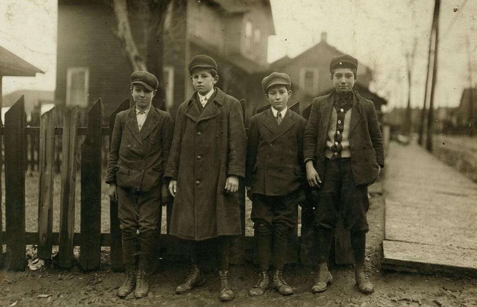 Four Breaker Boys working in 9 Breaker, Hughestown Borough. Boy on left is Tony Ross, 142 Panama Street, other small boy is Mike Rosa