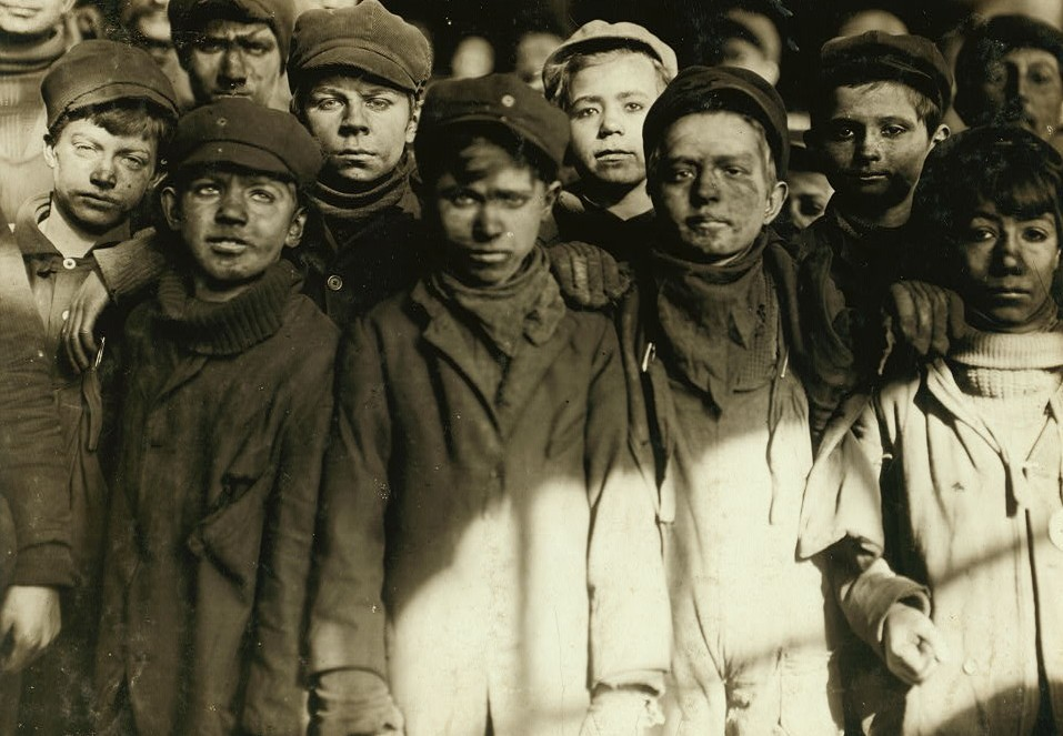 Group of Breaker Boys in #9 Breaker, Hughestown Borough, Pennsylvania Coal Co. Smallest boy is Angelo Ross Location Pittston, Pennsylvania.