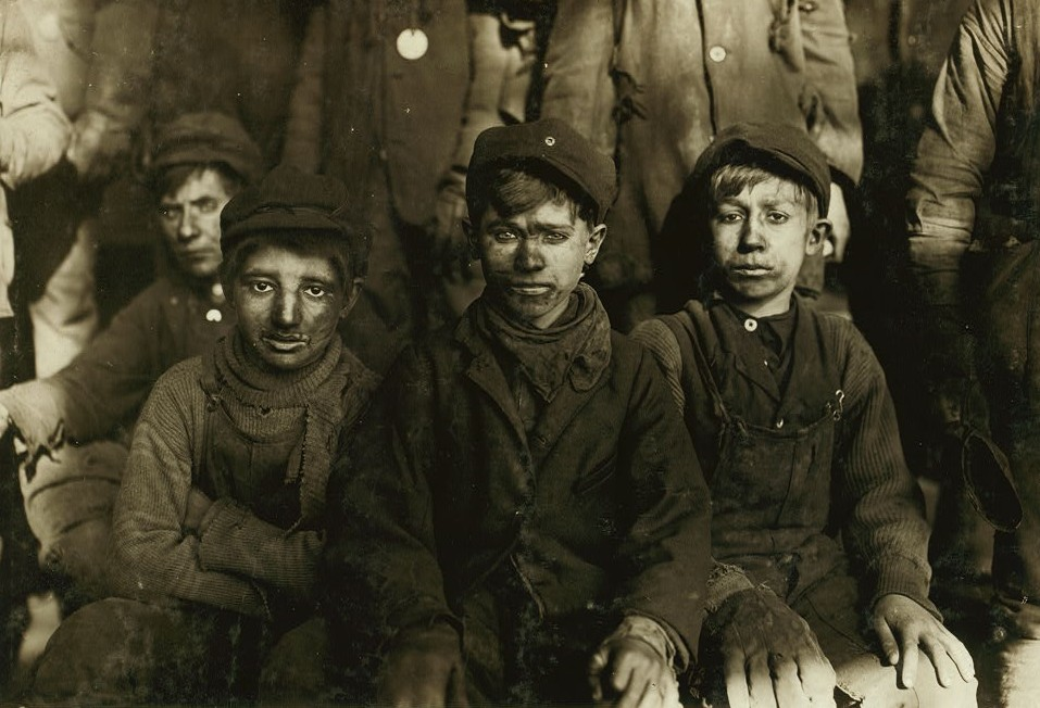 Group of Breaker boys. Smallest is Sam Belloma, Pine Street. Location Pittston, Pennsylvania.