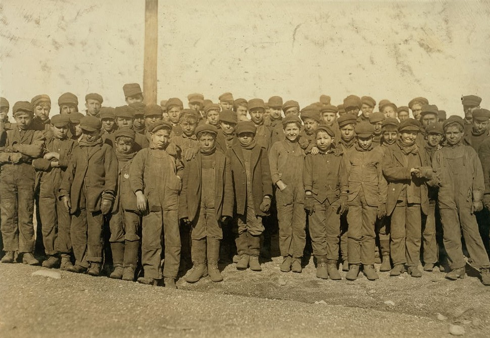 Group of boys working in 9 Breaker Pennsylvania Coal Co., Hughestown Borough, Pittston, Pa. In this group are Sam Belloma,