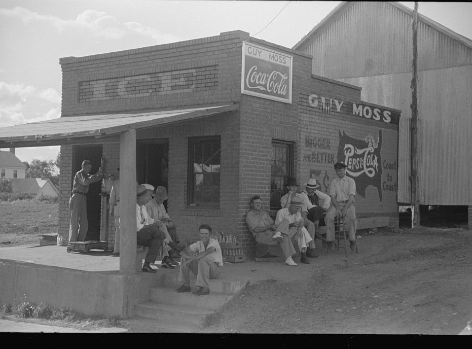 Men hanging around crossroads store, Greene County, Georgia 1939
