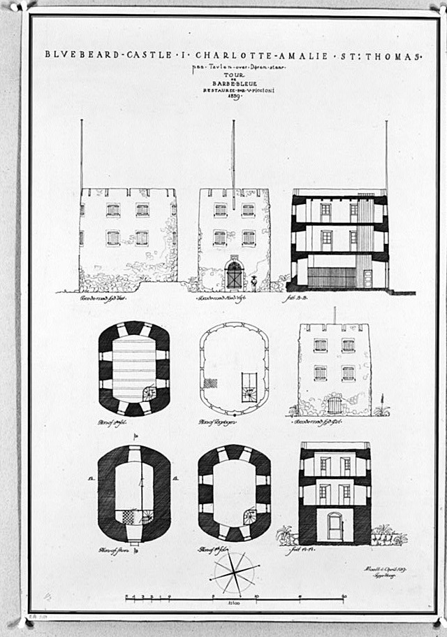 Photocopy of a measured drawing (original delineated by Tyge Hvass, 1919) PLANS, SECTIONS, AND ELEVATIONS OF CASTLE - Bluebeard's Castle, Frederiksberg Estate, Charlotte Amalie, St. Thomas, VI