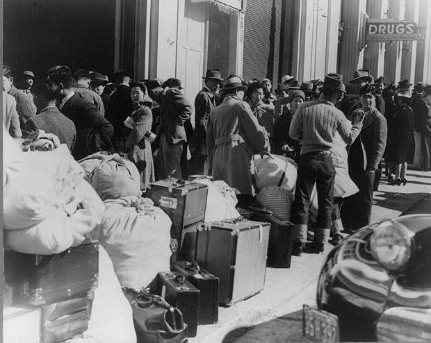Residents await bus April 1942 san francisco