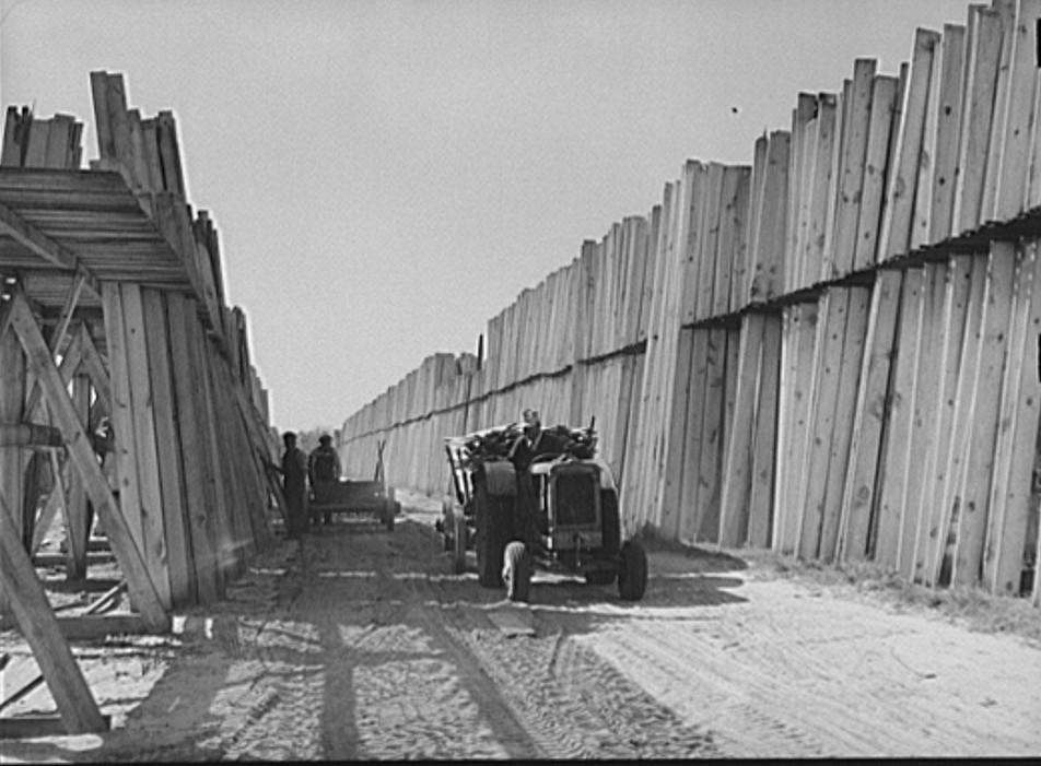 Stacks of lumber with tractor in planing mill. Cairo, Georgia Mar. 1939