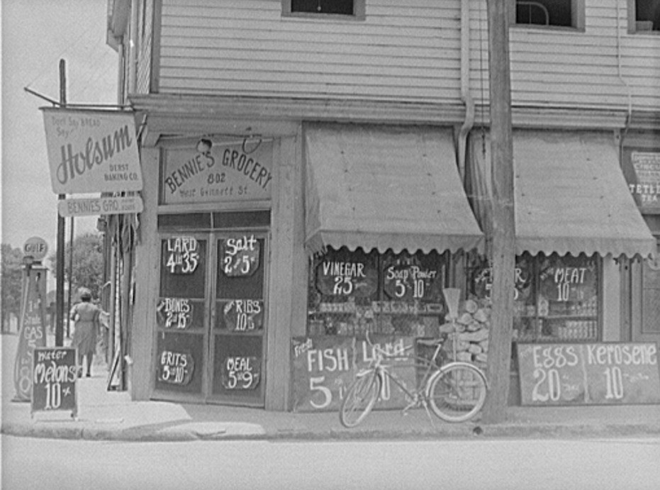 negro grocery store, Sylvania, Georgia. Prices posted outside
