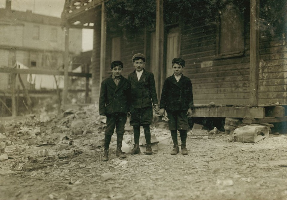 three boys working at ewen coal