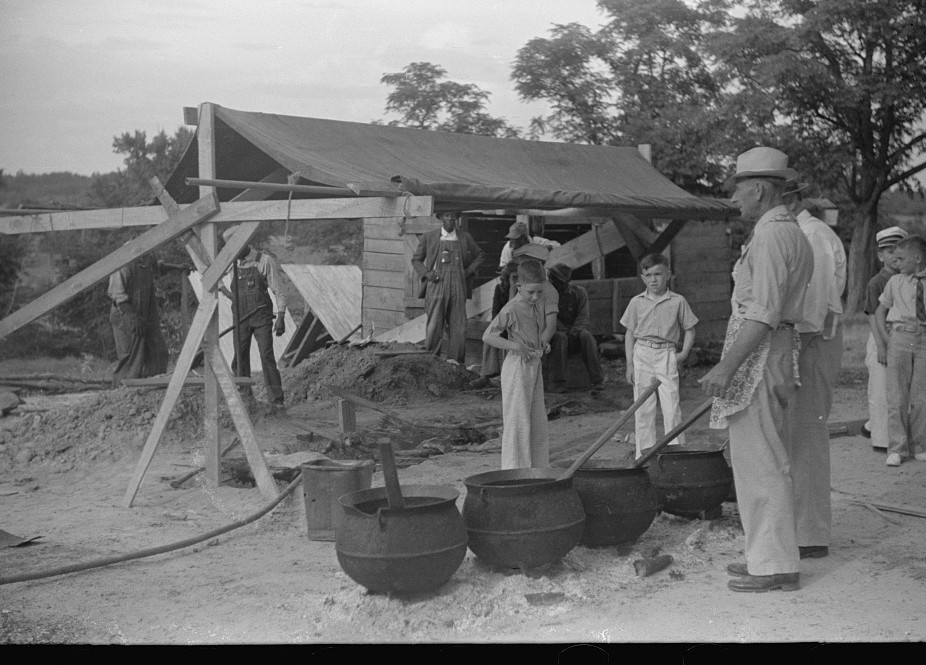 Barbeque picnic on the occasion of the dedication of a FSA (Farm Security Administration) building, Greene County, Georgia13 1939