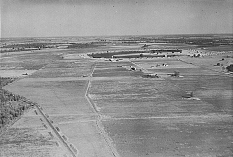 Airview of Lake Dick project, Arkansas. Taken by Arkansas National Guard 1938