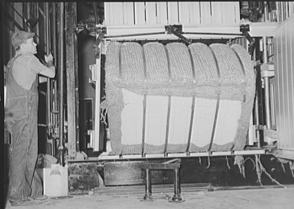 Bale of cotton immediately after compressing, being tipped out of baler. Lake Dick Project, Arkansas