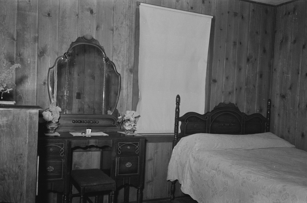 Bedroom in farm home, Lake Dick Project September 1938 by Lee Russell