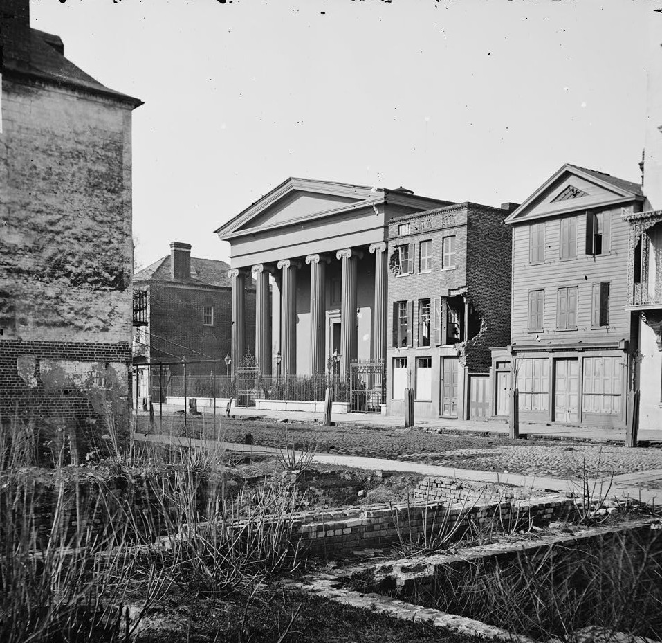 Charleston, S.C. Hibernian Hall (with columns; 105 Meeting Street), place of meeting after the burning of Secession Hall