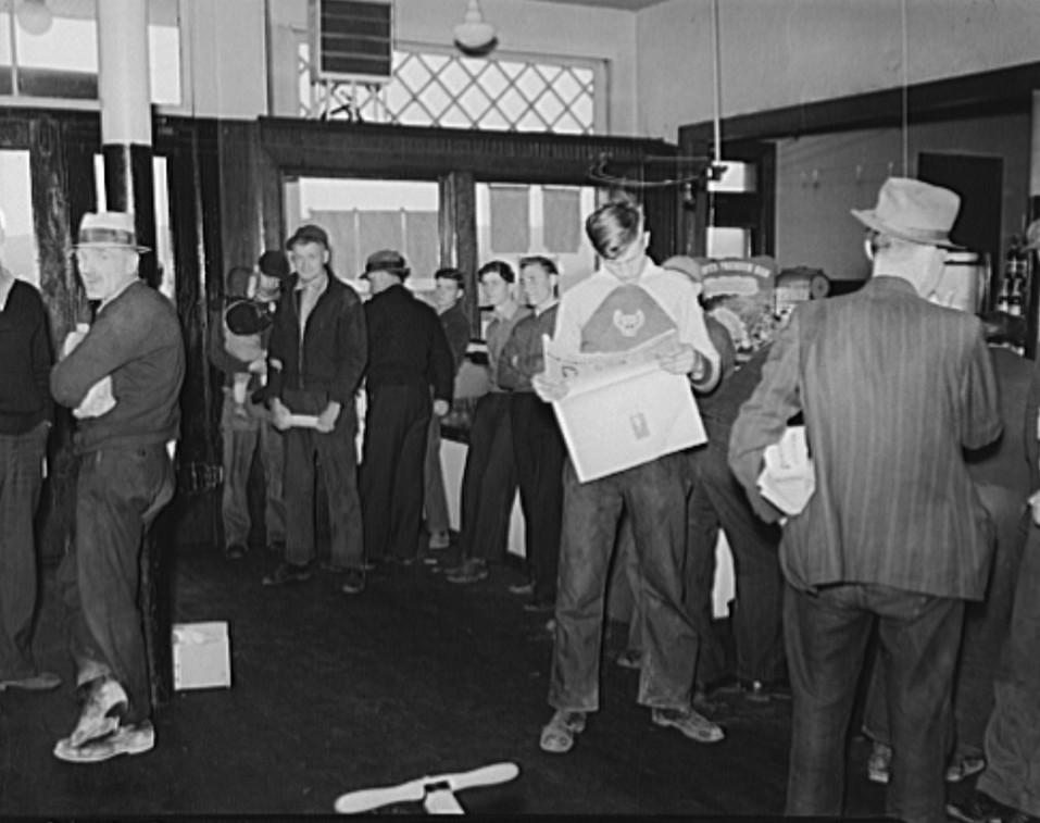 Coal miners hanging around company store during strike. Kempton, West Virginia