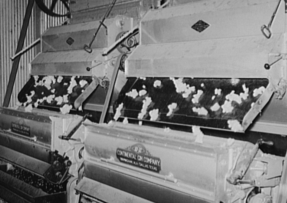 Cotton in process of ginning. Lake Dick Project, Arkansas