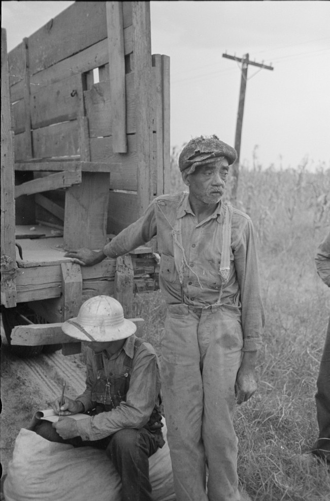 Cotton picker with recorder, Lake Dick Project, Arkansas