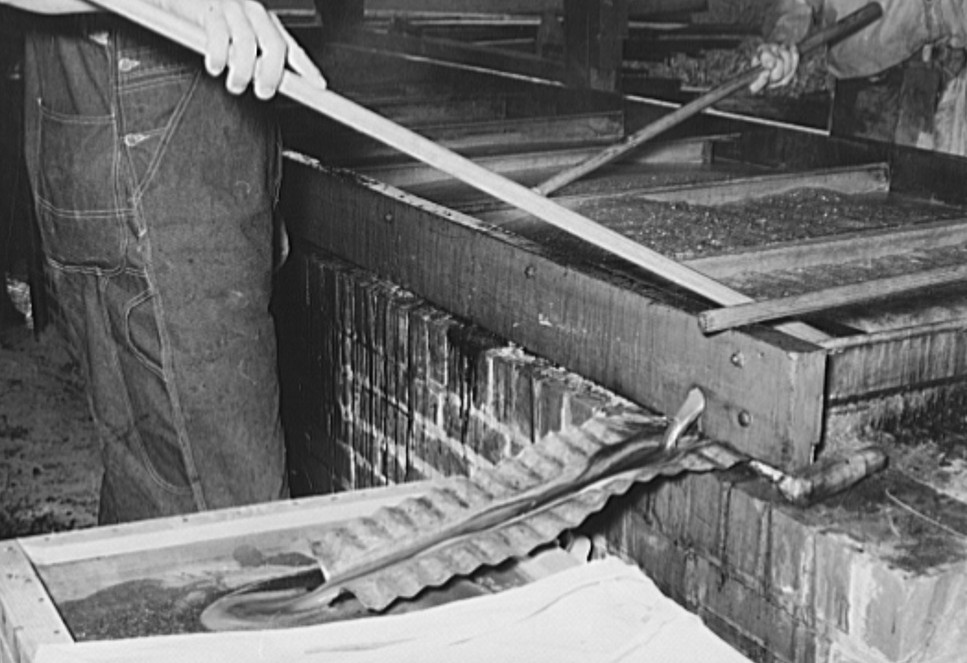 Finished sorghum pouring from vats.2 Lake Dick Project, Arkansas