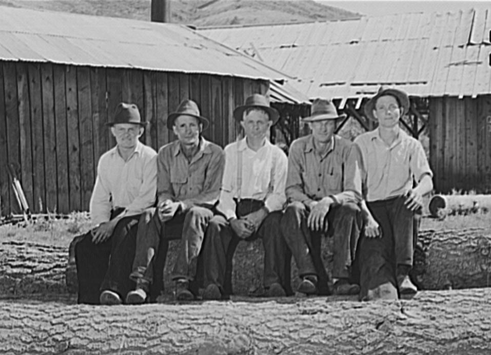 Five Idaho farmers, members of Ola self-help sawmill co-op,