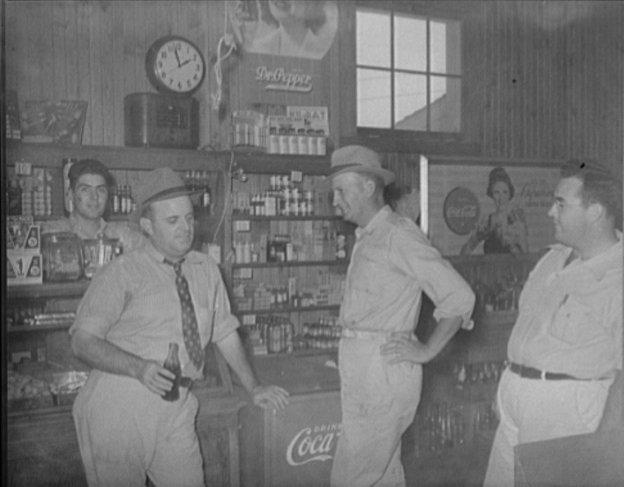 General store Farmers of cooperative association. Community manager in center. Lake Dick Project, Arkansas