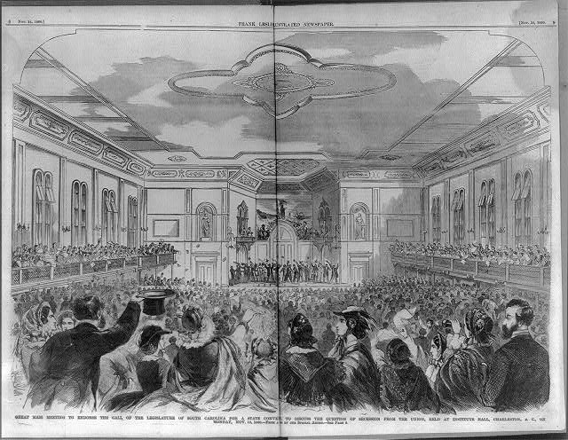 Great mass meeting to endorse the call of the legislature of South Carolin held at Institute Hall, Charleston, S.C. on Monday, Nov. 12, 1860