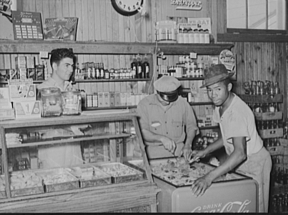 Icing soft drink refrigerator in general store. Lake Dick Project, Arkansas