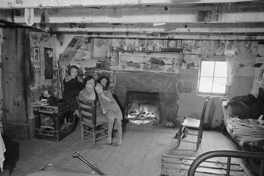Interior of mountain farmhouse, Appalachian Mountains near Marshall, North Carolina by Photographer Carl Mydans