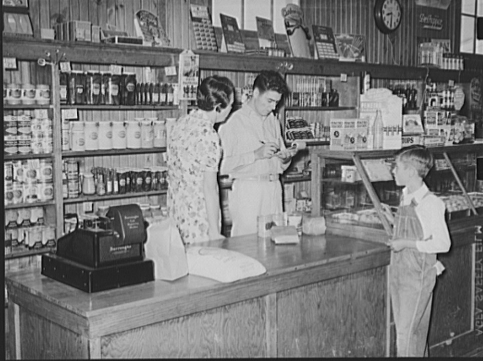 Lake Dick Making a sale, Lake Dick cooperative store. Lake Dick Project, Arkansas