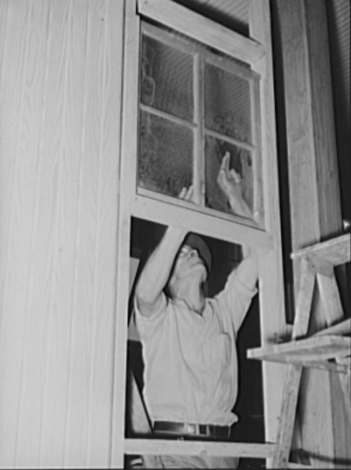 Member of Lake Dick cooperative association installing window of partition in general store. Lake Dick Project, Arkansas