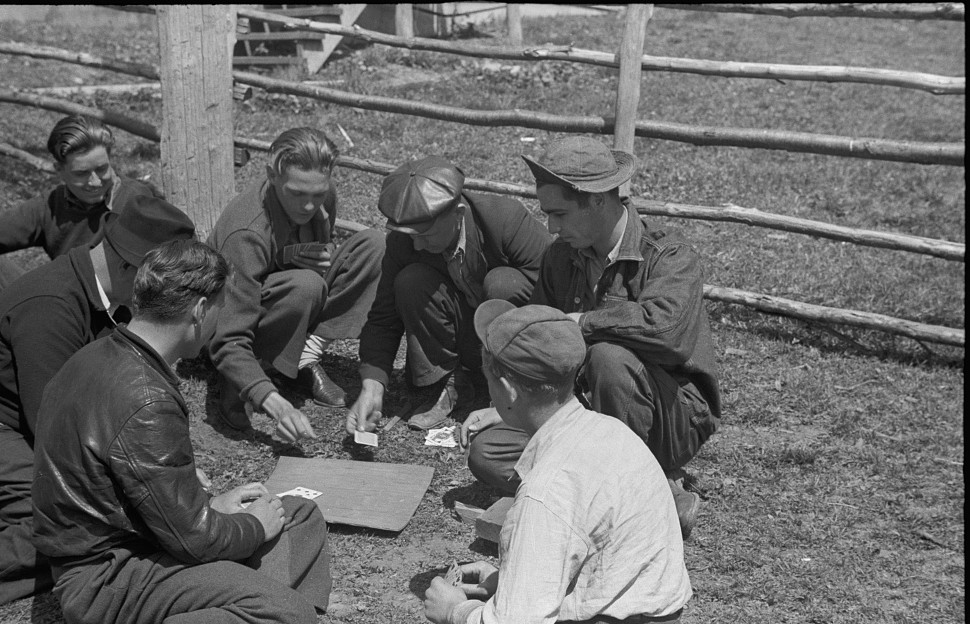 Miners playing cards during May 1939 coal strike. Kempton, West Virginia