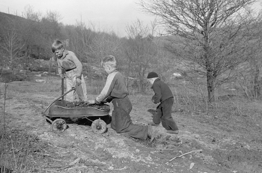 Miner's sons bringing home coal which they have salvaged from slag pile. Kempton, West Virginia