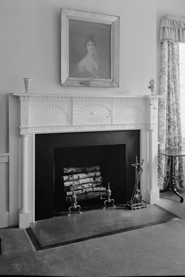 Morven detail mantel bedroom 2nd floor 1964 by photographer Jack E. Boucher