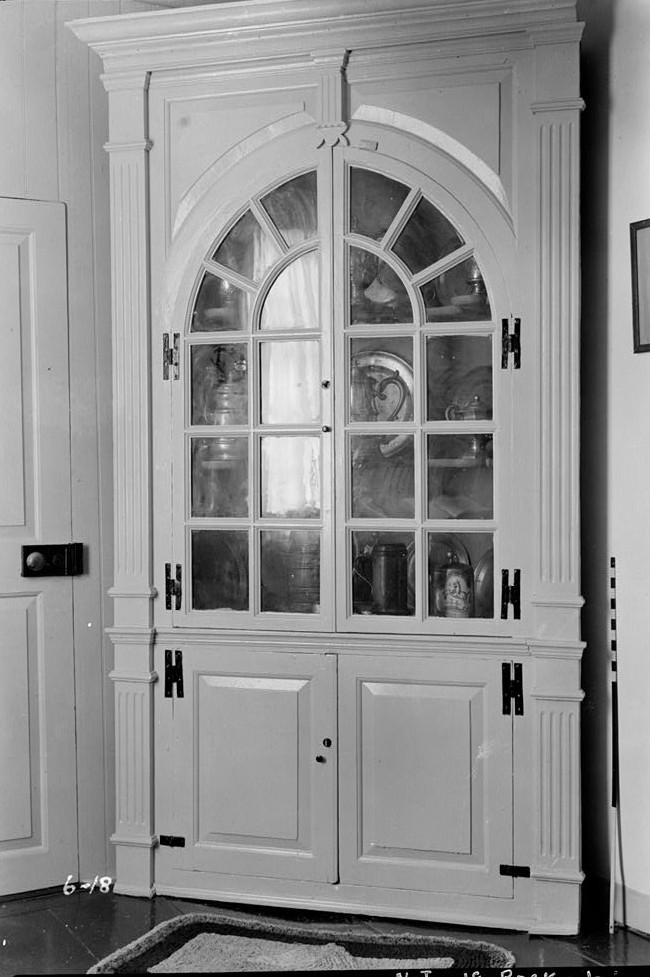 Nathaniel R. Ewan, Photographer July 8, 1936 interio rcorner cupboard in store room- Judge John Berrien House, Rocky Hill Road, Rocky Hill, Somerset County, NJ