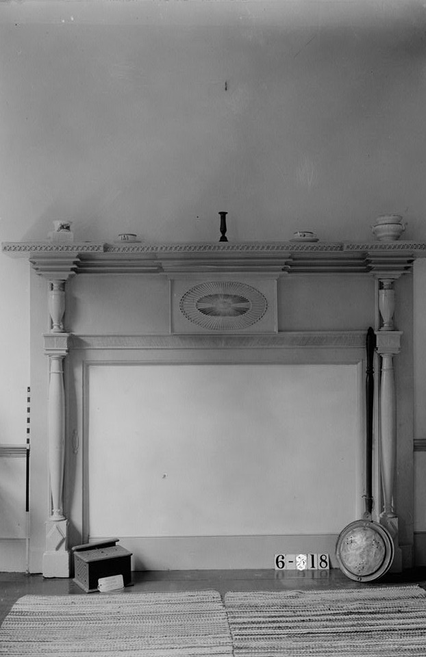 Nathaniel R. Ewan, Photographer July 8, 1936 interior -bedroom fireplace- Judge John Berrien House, Rocky Hill Road, Rocky Hill, Somerset County, NJ