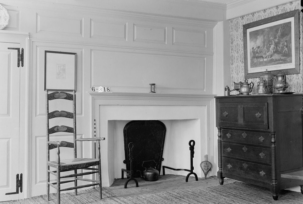 Nathaniel R. Ewan, Photographer July 8, 1936 interior dining room fireplace detail- Judge John Berrien House, Rocky Hill Road, Rocky Hill, Somerset County, NJ