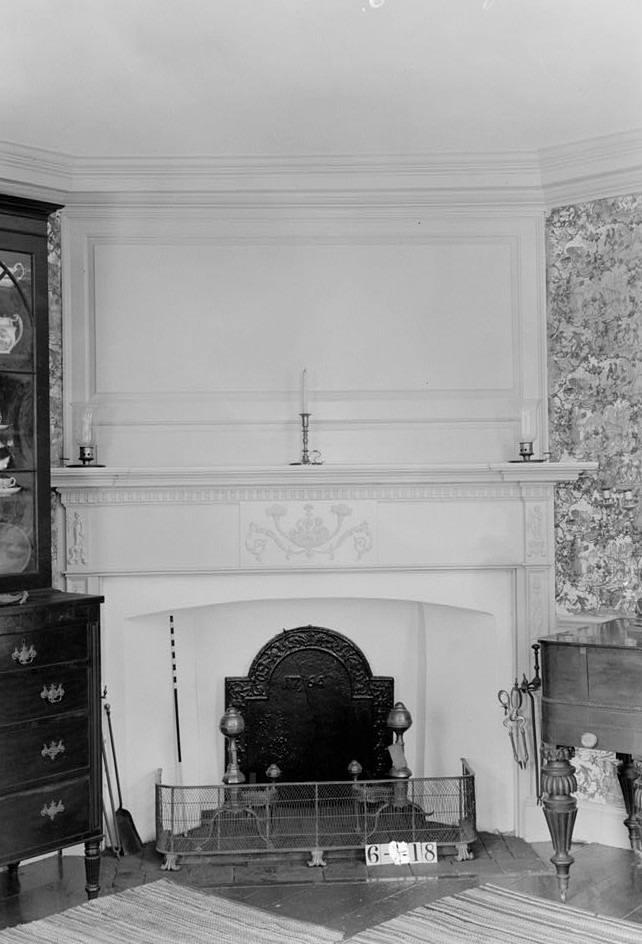 Nathaniel R. Ewan, Photographer July 8, 1936 interior living  room fireplace detail- Judge John Berrien House, Rocky Hill Road, Rocky Hill, Somerset County, NJ