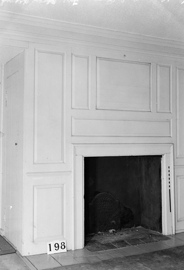 Nathaniel R. Ewan, Photographer June 24, 1936 Interior bed room fire place detail- Burrowes Mansion, 94 Main Street, Matawan, Monmouth County, NJ
