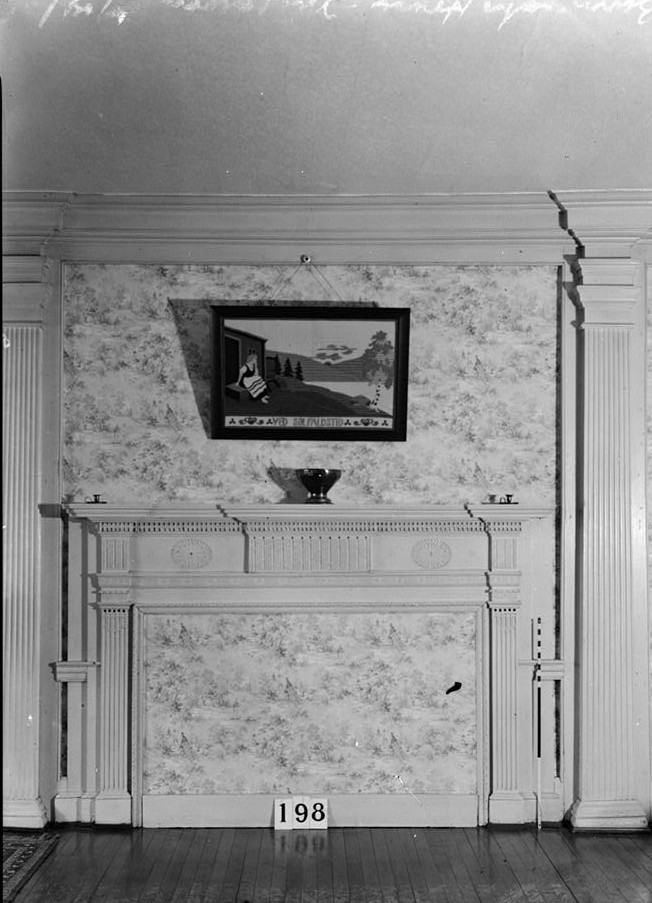 Nathaniel R. Ewan, Photographer June 24, 1936 Interior - living room fireplace detail- Burrowes Mansion, 94 Main Street, Matawan, Monmouth County, NJ
