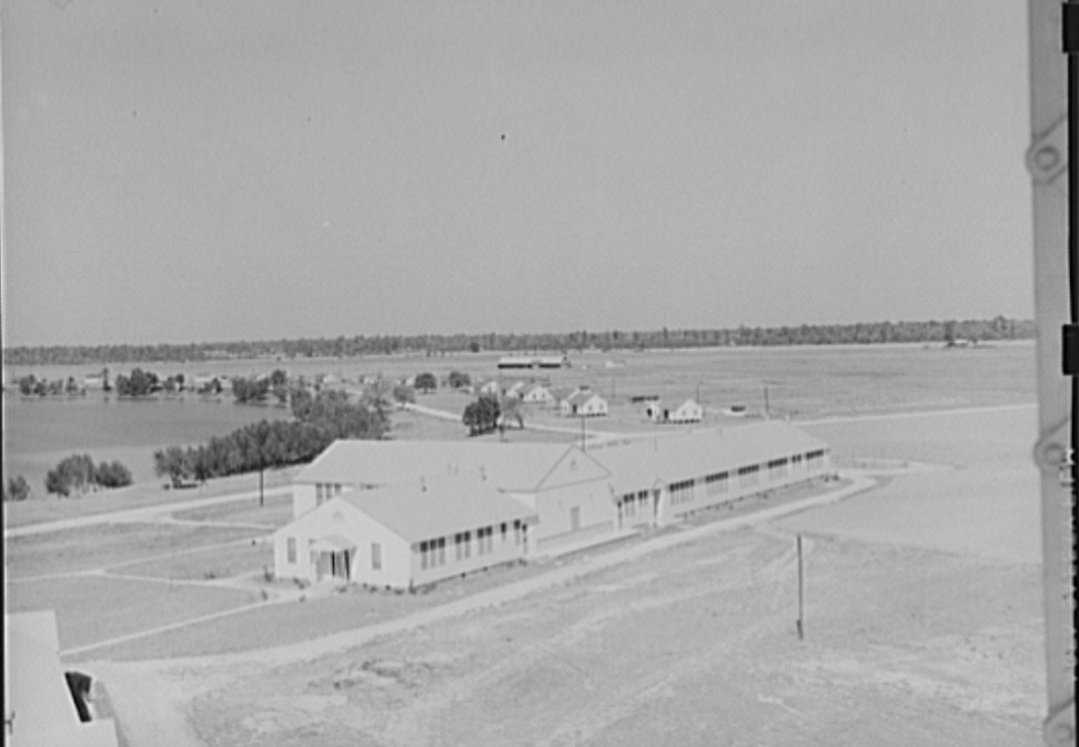 Panoramic view of Lake Dick Project. Community center in foreground. Lake Dick, Arkansas