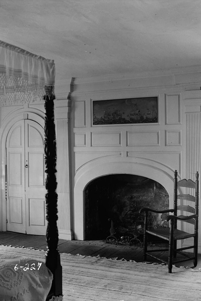 R. Merritt Lacey, Photographer April 1, 1936 interior - mantel bedroom - General Clinton Headquarters, West Main Street, West Freehold, Monmouth County, NJ