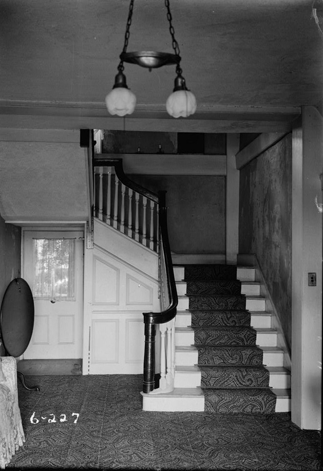 R. Merritt Lacey, Photographer April 1, 1936 interiorl - front stair - General Clinton Headquarters, West Main Street, West Freehold, Monmouth County, NJ