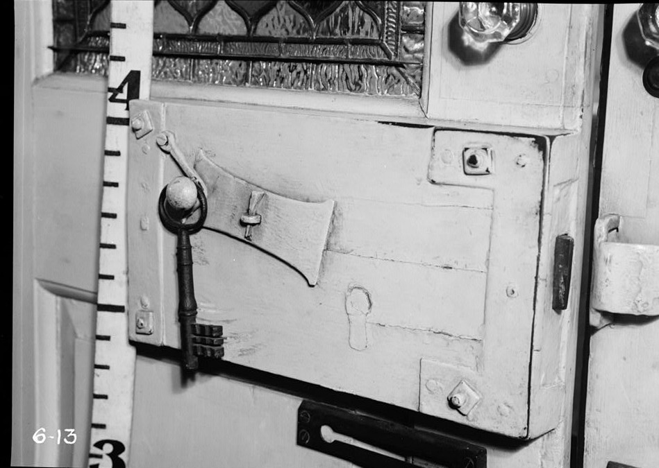 R. Merritt Lacey, Photographer April 7, 1936 interior detail front door lock - Governor Belcher Mansion, 1046 East Jersey Street, Elizabeth, Union County, NJ
