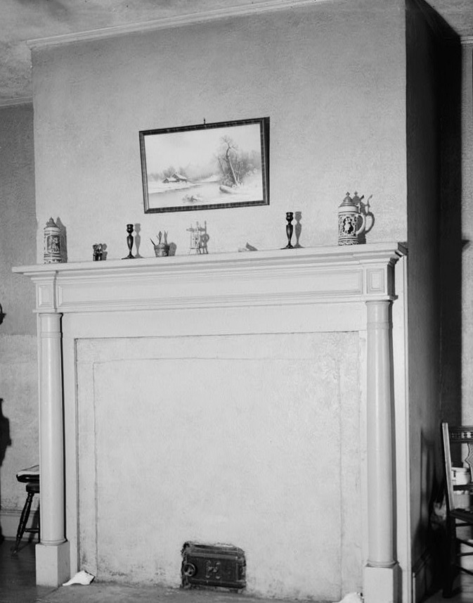R. Merritt Lacey, Photographer September 9, 1940 bedroom and mantel - Van Veghten House, Finderne, Somerset County, NJ