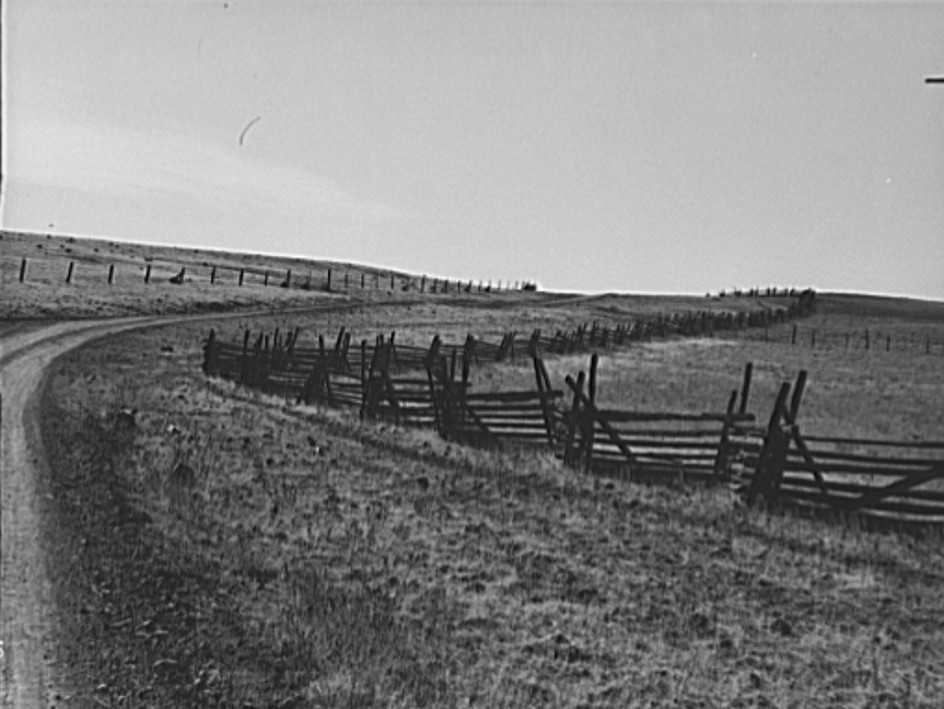 Road going up Squaw Creek Valley, leaving Ola. Fence was built in 1890. Ola self-help sawmill co-op. Gem County, Idaho