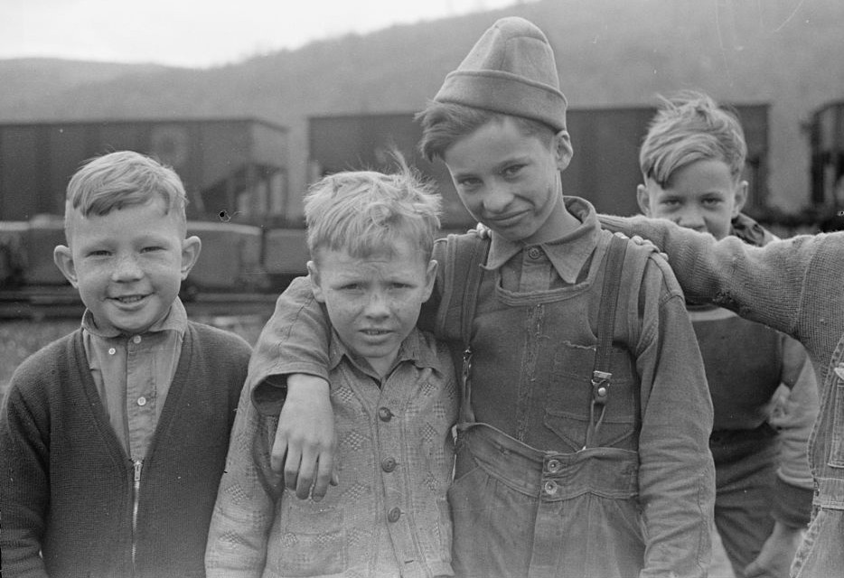 Schoolboys in coal town, Kempton, West Virginia