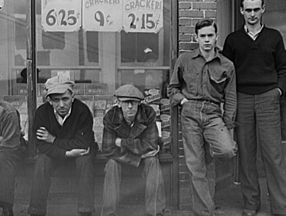 Striking coal miners in front of company store. Kempton, West Virginia