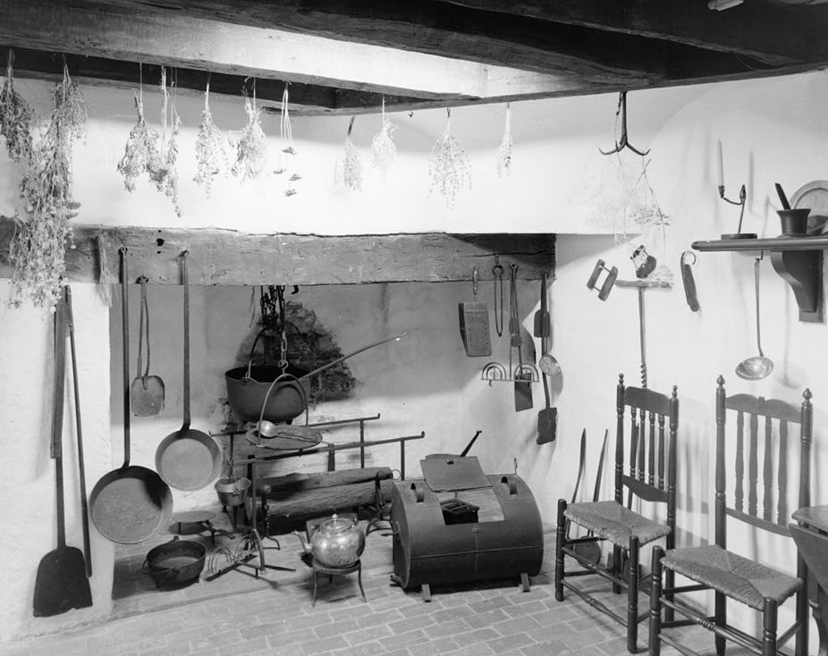 Trent House, 15 Market Street changed from 539 South Warren Street, Basement looking east at fireplace Trenton, Mercer County, NJ