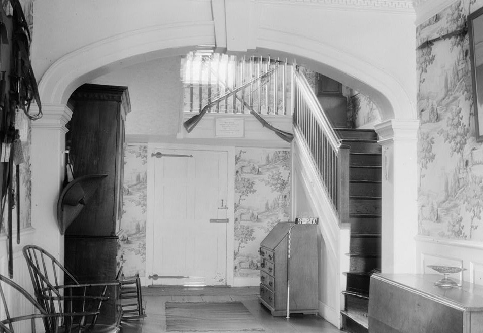 Wallace House, Washington Place, Somerville, Somerset County, NJ by photographer Nathaniel R. Ersin ca. 1934 interior hall and stairs