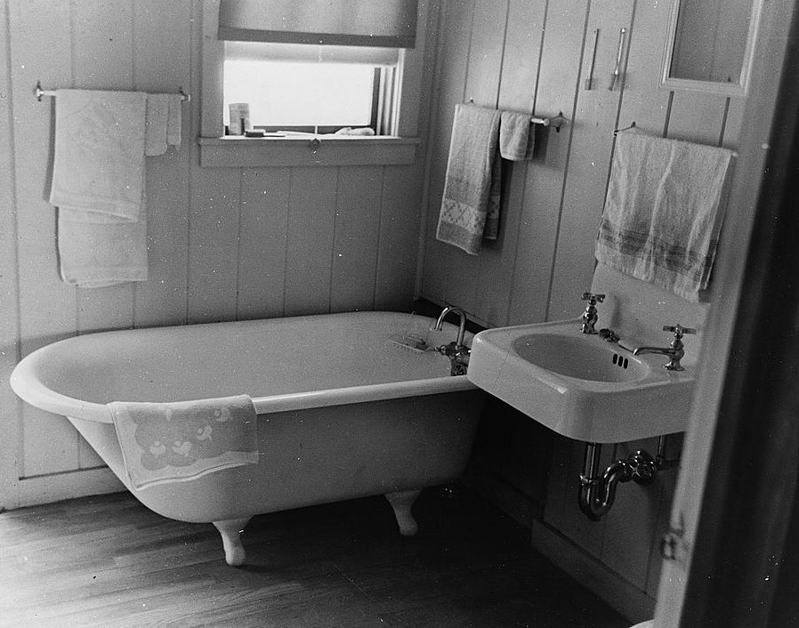 lake dick Bathroom in farmer's home, Lake Dick Project, Arkansas