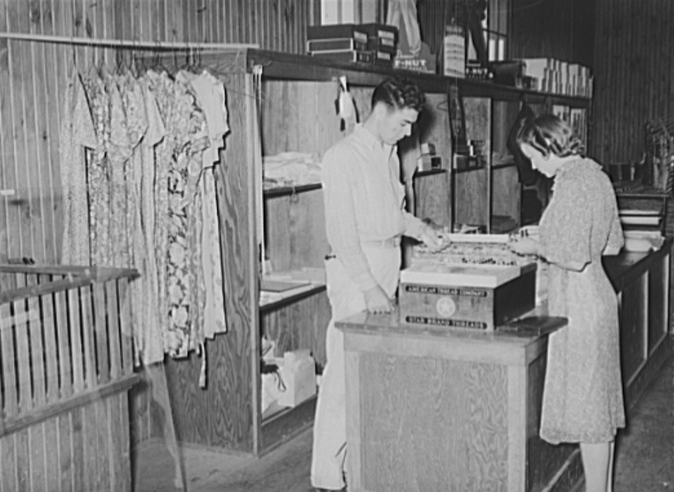 lake dick Dress and dry goods counter. Cooperative general store. Lake Dick Project, Arkansas