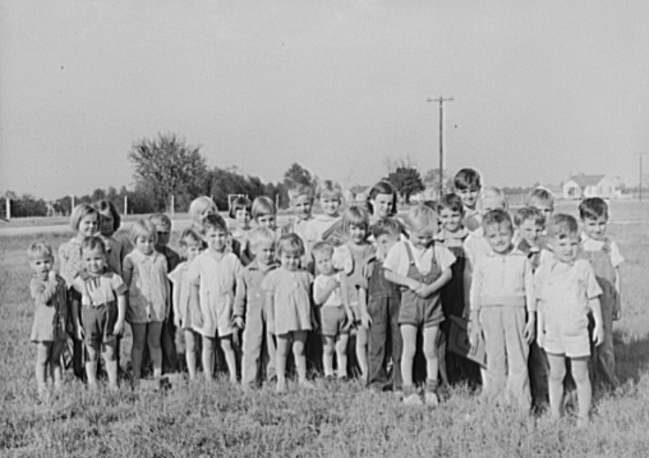 schoolchildren at lake dick